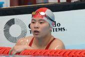 图文:女子100米蛙泳决赛结束 陈慧佳眉目清秀