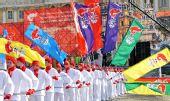 图文:奥运圣火传至圣彼得堡 城市庆典表演开始