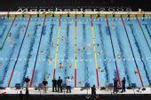 图文:短池游泳世锦赛将开赛 体育馆准备就绪