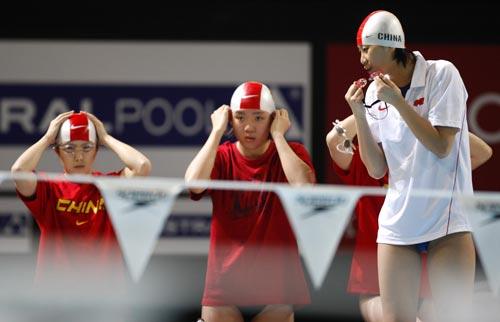 中国队做准备活动