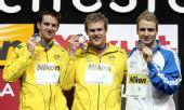 图文:08短池世锦赛男200米自 前三名台上合影