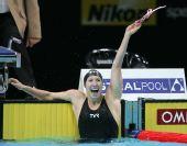 图文:08短池世锦赛女200蝶 德斯森扎欢呼夺冠