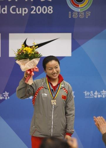 图文:女子10米气手枪决赛 任洁最终只获得铜牌