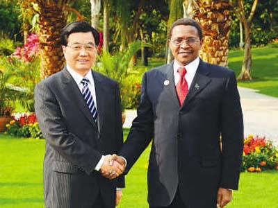 4月11日,国家主席胡锦涛在海南省三亚市举行仪式,欢迎坦桑尼亚总统基奎特访华。(新华社记者李涛摄)