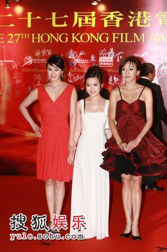 晶女郎孟瑶(左) 王晶的女儿王子涵(中)