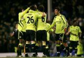 图文:[英超]埃弗顿0-1切尔西 蓝军庆祝胜利