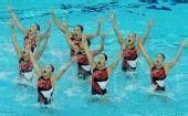 图文:花游奥运资格赛集体项目 日本队半身出水