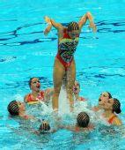 图文:花游奥运资格赛集体项目 西班牙完美表演