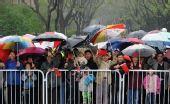 图文:北京国际马拉松赛 沿途观众冒雨加油助威