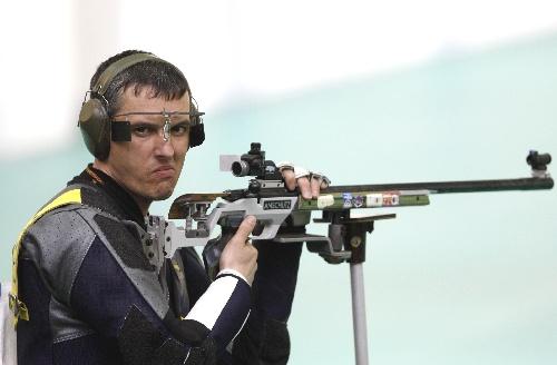 图文:男子50米步枪三姿赛 索科卢科夫获亚军