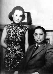 1935年,孙科与蓝妮结婚后在上海的合影。
