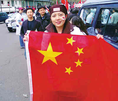 中国留学生 我们的心与祖国相依与圣火相连