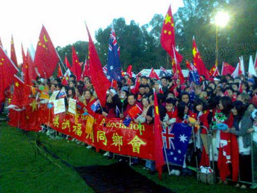 华人赶赴为北京奥运欢呼