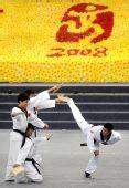 图文:跆拳道亚锦赛开幕 踢腿表演精彩纷呈