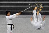 图文:跆拳道亚锦赛开幕 精彩表演力度十足