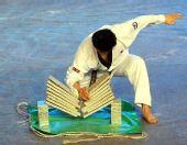 图文:跆拳道亚锦赛开幕 韩国选手掌劈木板