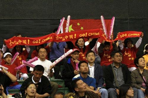 中国球迷场边助威