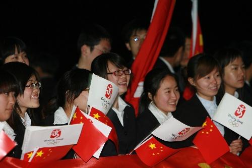 中国留学生欢迎圣火