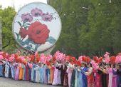 图文:奥运火炬平壤传递 欢迎奥运圣火的到来
