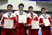图文:击剑亚锦赛男佩团体夺冠 中国男花四剑客