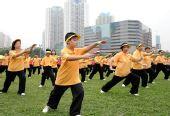 图文:香港武术汇演迎奥运 武术团体表演太极拳