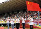 图文:香港武术汇演迎奥运 推广大使活动上领誓