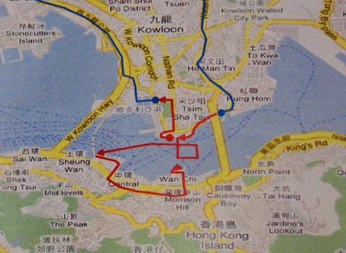 香港传递路线示意图