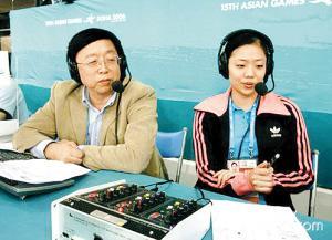 浙江台金宝成(右为体操名将杨云)被公认为对体操最懂的解说员。