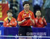 图文:乒乓球超级明星热身赛 李晓霞面带哭腔