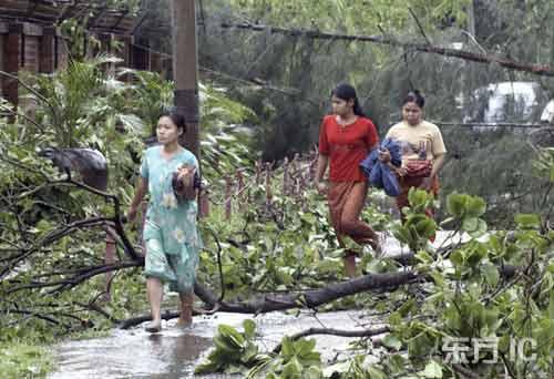 缅甸风暴过后,树木被折断。