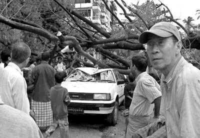 居民们正在搬动一辆被倾倒树木毁坏的汽车