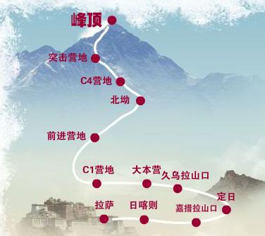 北京奥运会圣火抵达珠峰,登珠峰之路全面解析.图据北京奥运会官方网站