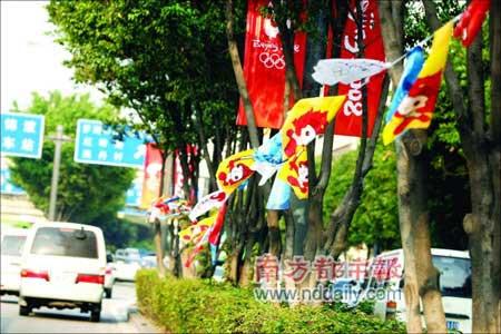 昨天,很多街道仍飘扬着奥运旗帜。