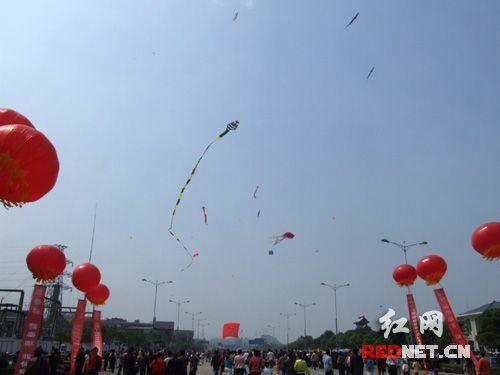 长达116米的巨型二龙戏珠风筝即将腾空而起。
