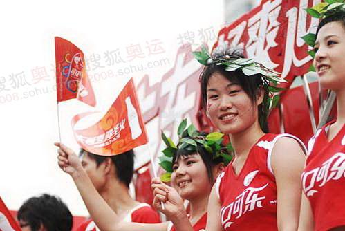 美丽花车宝贝助阵北京奥运圣火汕头传递