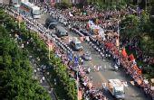 图文:北京奥运圣火在福州传递 江滨路进行传递