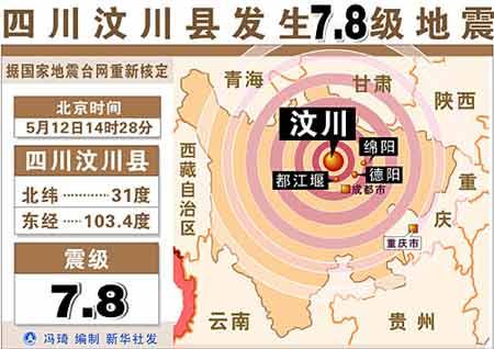 图表:四川汶川县发生7.8级地震 新华社发