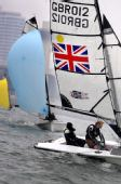 图文:参加SKUD18级比赛的英国选手在比赛中