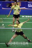 图文:杨维/张洁雯1-2负韩组合 上演劈叉回球