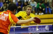 图文:中国赛男单第一轮战况 佩尔森很专注