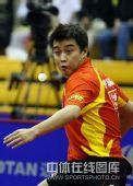 图文:中国赛男单第一轮战况 王皓表情可爱