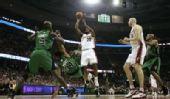 图文:[NBA]骑士战凯尔特人 詹姆斯突破投篮
