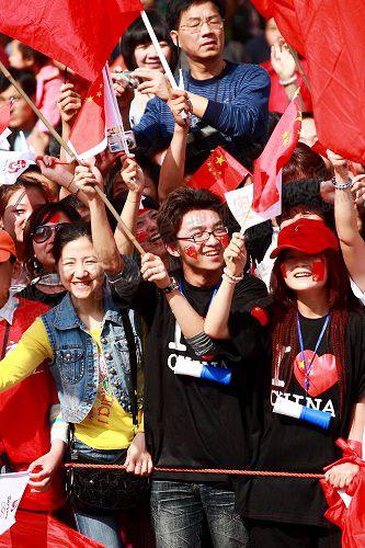 市民热情现场祝福奥运