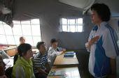 抗震救灾 世界冠军高敏为灾区孩子进行心理辅导