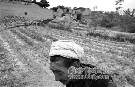 5月20日,汶川县萝卜寨。一位村民走过一片菜地,后面是倒塌的房屋。本报记者张骏摄