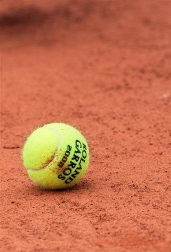 图文:伊万诺维奇VS阿维德森 网球掉落地面瞬间