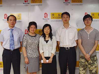 左起:于鹏、孙占敏、张晓华、董雨星、金磊(主持人)