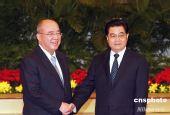 胡锦涛同中国国民党主席吴伯雄举行会谈(图)