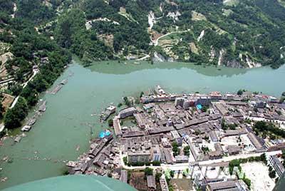 5月28日航拍的北川县禹里乡部分,这里连日来水位上涨明显。