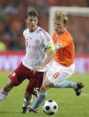 图文;[友谊赛]荷兰1-1丹麦 库伊特对抗托马森